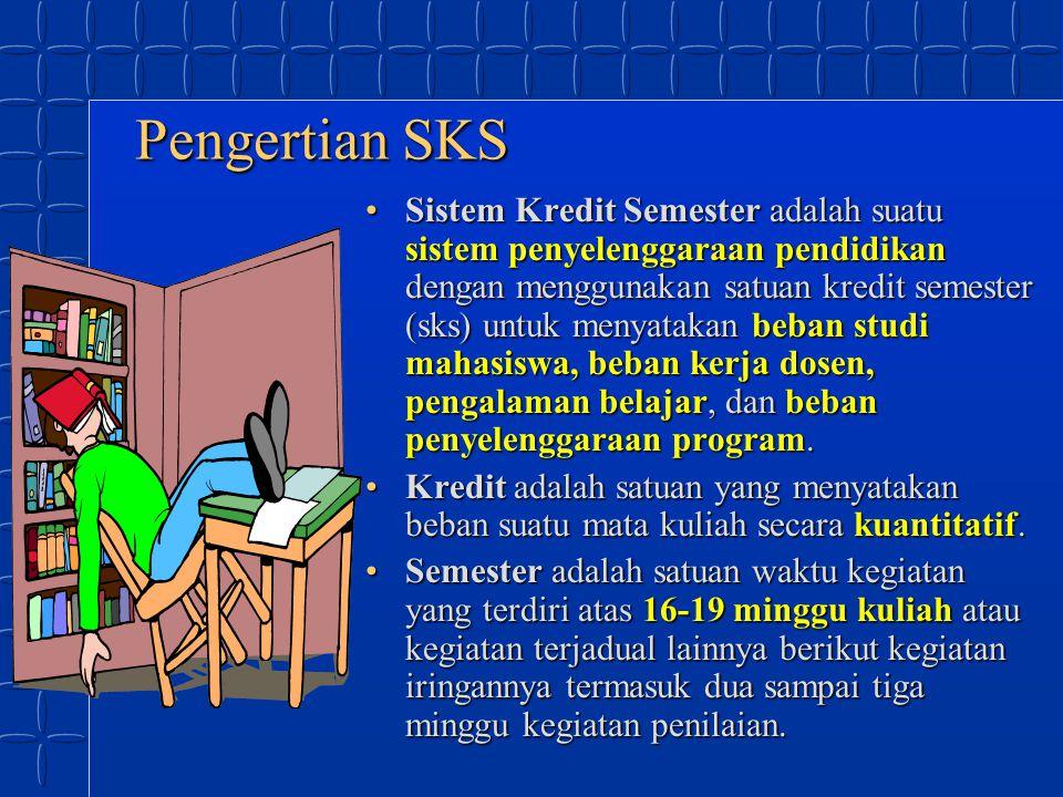 Pengertian SKS Sistem Kredit Semester adalah suatu sistem penyelenggaraan pendidikan dengan menggunakan satuan kredit semester (sks) untuk menyatakan
