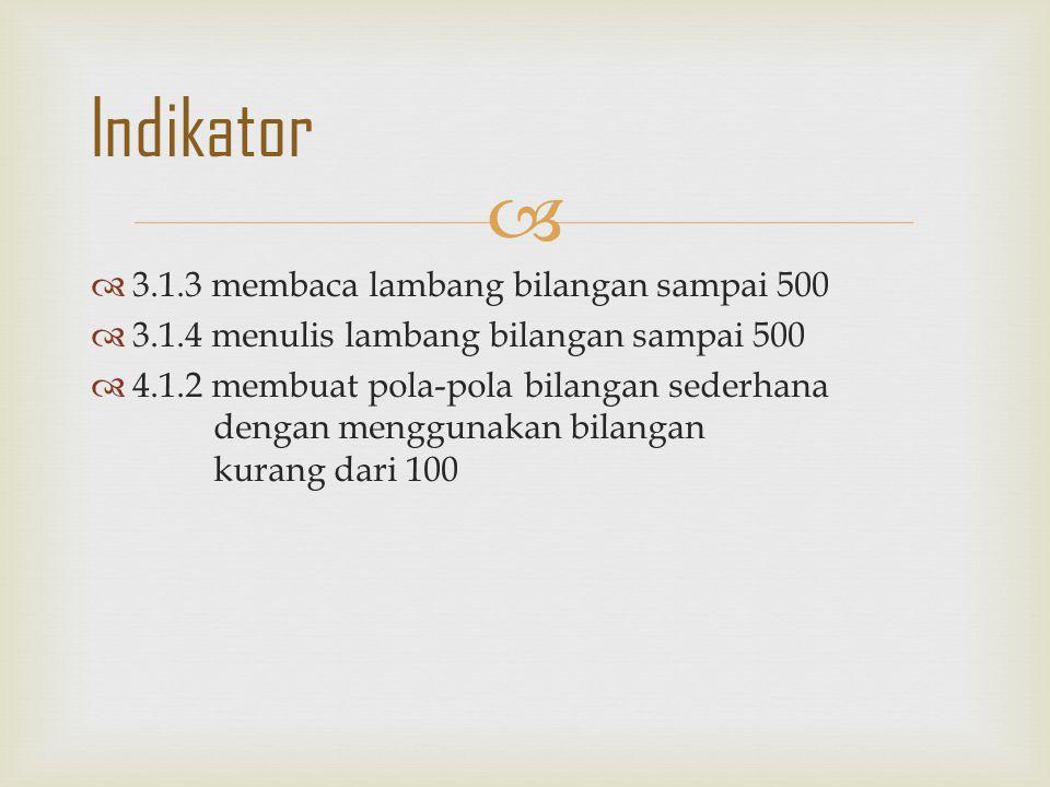   3.1.3 membaca lambang bilangan sampai 500  3.1.4 menulis lambang bilangan sampai 500  4.1.2 membuat pola-pola bilangan sederhana dengan mengguna