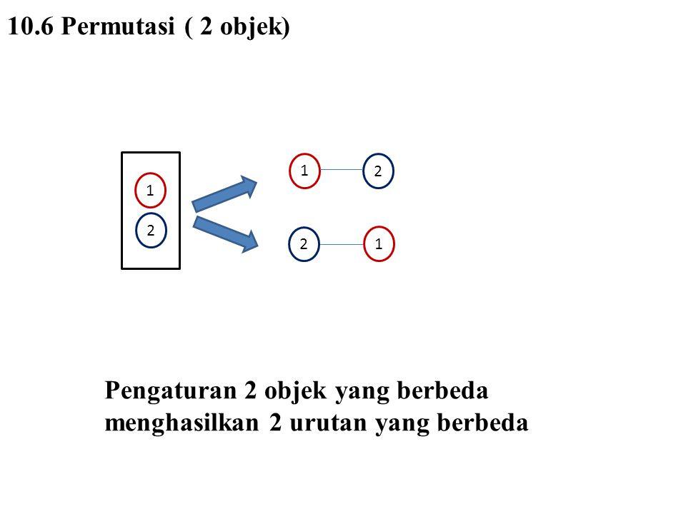 10.6 Permutasi ( 3 objek) 2 3 1 3 1 2 3 2 1 1 2 3 1 3 2 2 1 3 1 2 3 1 3 2 132312 3 3 2 2 1 1 Pengaturan 3 objek yang berbeda menghasilkan 6 urutan yang berbeda
