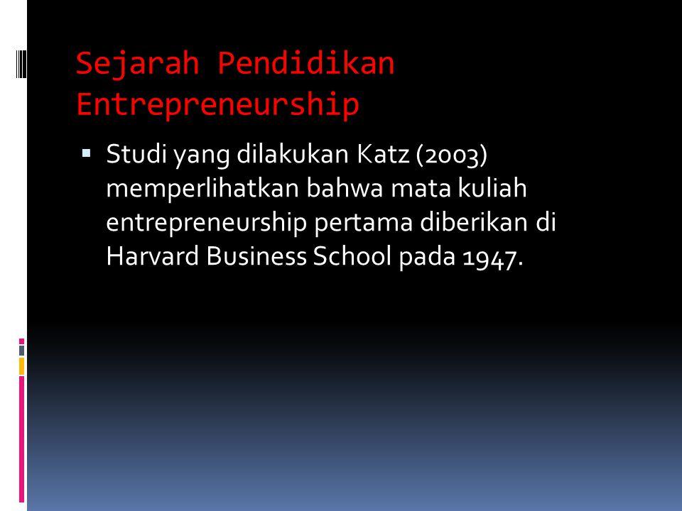 Sejarah Pendidikan Entrepreneurship  Studi yang dilakukan Katz (2003) memperlihatkan bahwa mata kuliah entrepreneurship pertama diberikan di Harvard Business School pada 1947.