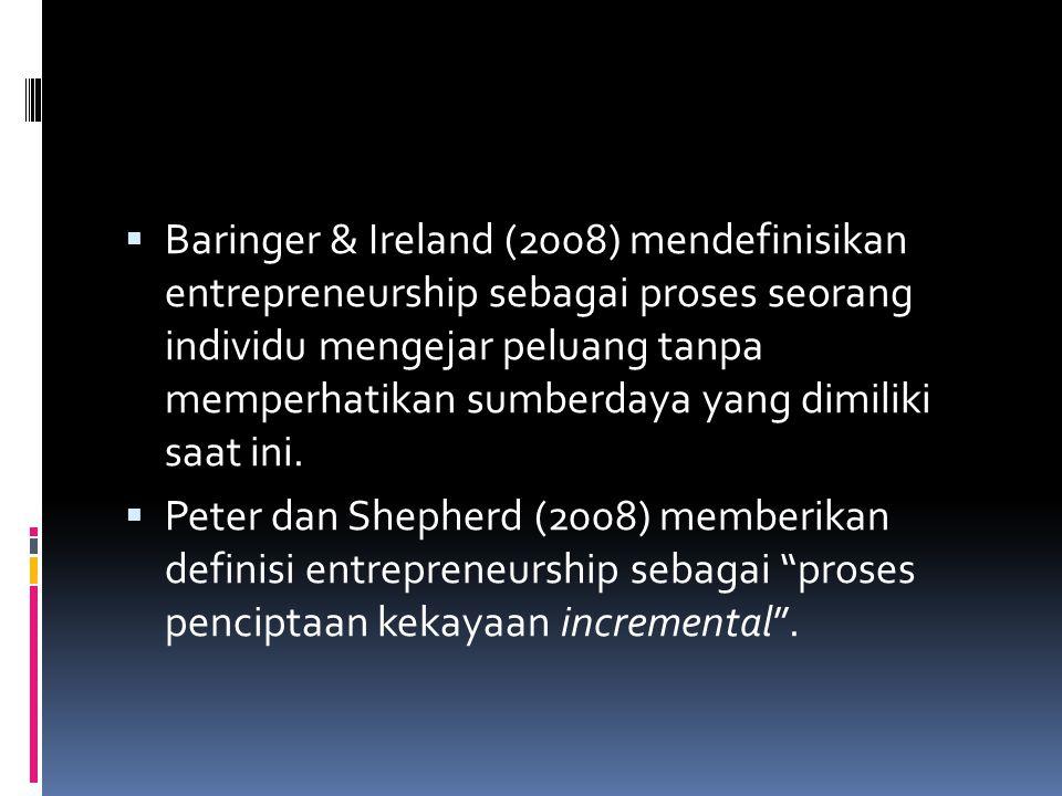  Hisrich et al (2008) memberikan definisi yang telah mengakomodir semua tipe perilaku entrepreneurship sebagai proses menciptakan sesuatu yang baru, yang bernilai, dengan memanfaatkan usaha dan waktu yang diperlukan, dengan memperhatikan risiko sosial, fisik, dan keuangan, dan menerima imbalan dalam bentuk uang dan kepuasan personal serta independensi .