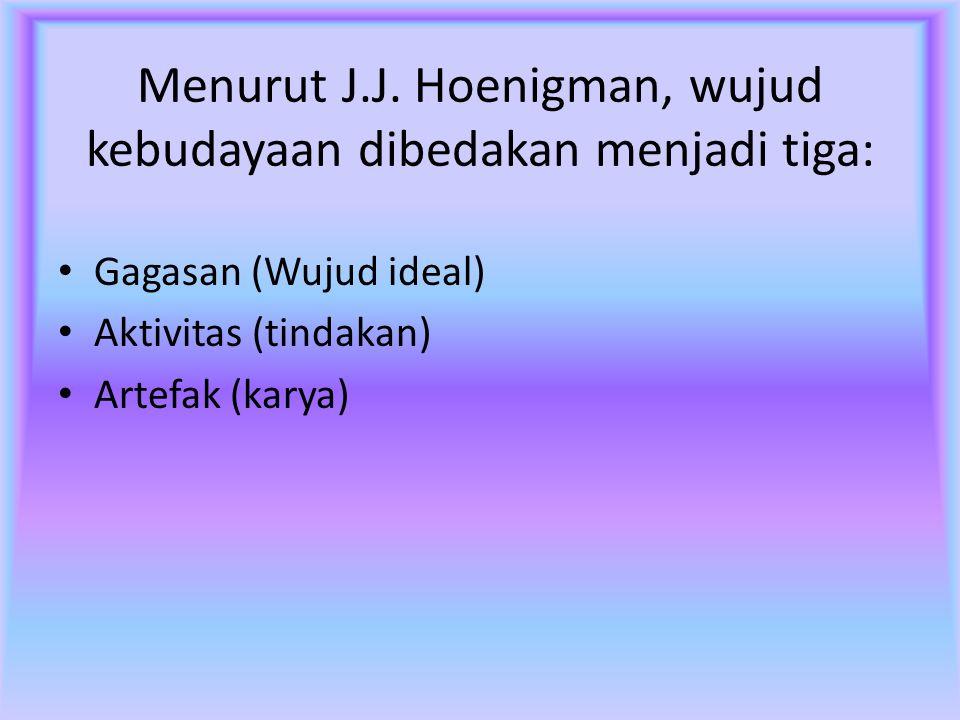 Menurut J.J. Hoenigman, wujud kebudayaan dibedakan menjadi tiga: Gagasan (Wujud ideal) Aktivitas (tindakan) Artefak (karya)