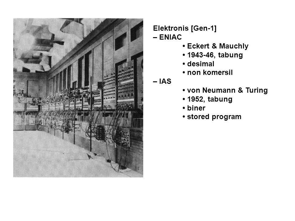 Elektronis [Gen-1] – ENIAC Eckert & Mauchly 1943-46, tabung desimal non komersil – IAS von Neumann & Turing 1952, tabung biner stored program