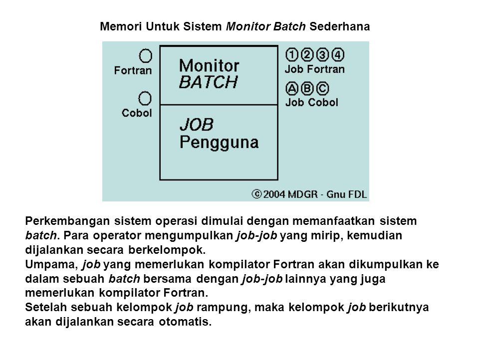 Perkembangan sistem operasi dimulai dengan memanfaatkan sistem batch. Para operator mengumpulkan job-job yang mirip, kemudian dijalankan secara berkel