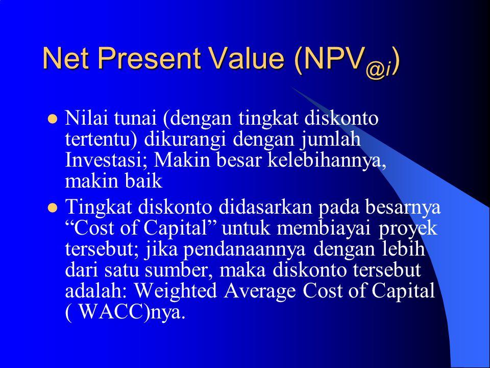 NPV (cont.) Ket.Tahun ke:Arus KasDiskonto Nilai Tunai Investasi0(10,000)1 (10,000) Hasil1 4,000 0.892857 3,571 Hasil 2 5,000 0.797194 3,986 Hasil3 6,000 0.71178 4,271 Hasil4 6,000 0.635518 3,813 Total (NPV) 5,641