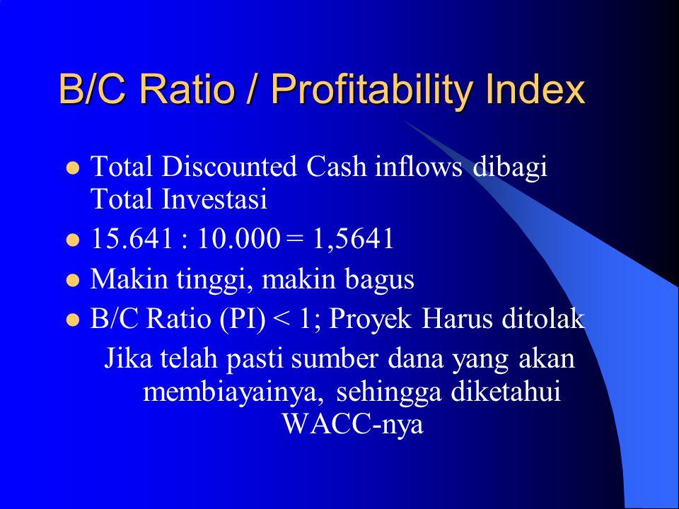 Internal Rate of Return (IRR) Menunjukkan kemampuan proyek dalam memberikan pengembalian (return) IRR Vs.