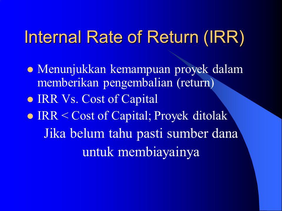 Internal Rate of Return (IRR) Menunjukkan kemampuan proyek dalam memberikan pengembalian (return) IRR Vs. Cost of Capital IRR < Cost of Capital; Proye
