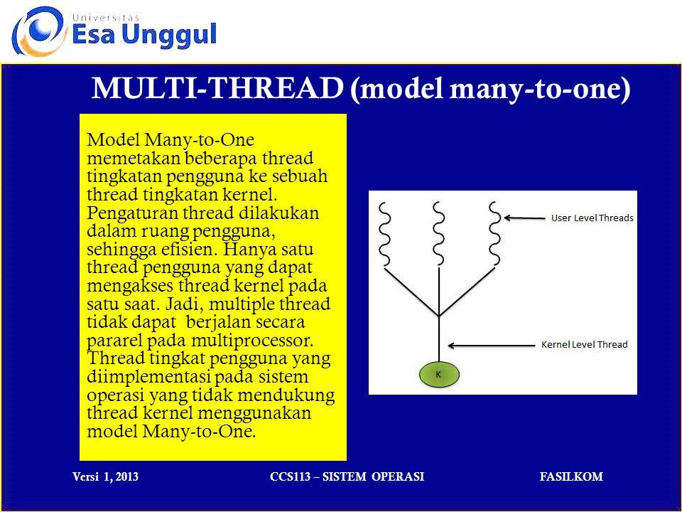 Versi 1, 2013CCS113 – SISTEM OPERASIFASILKOM MULTI-THREAD (model many-to-many) Model Many-to-Many memultipleks banyak thread tingkatan pengguna ke thread kernel yang jumlahnya lebih sedikit atau sama dengan tingkatan pengguna.