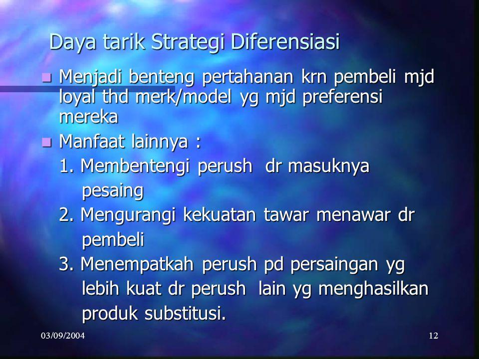 03/09/200411 STRATEGI DIFERENSIASI Efektif bila : Kebutuhan pembeli sangat beragam shg sulit utk dipenuhi oleh satu jenis produk ttt. Kebutuhan pembel
