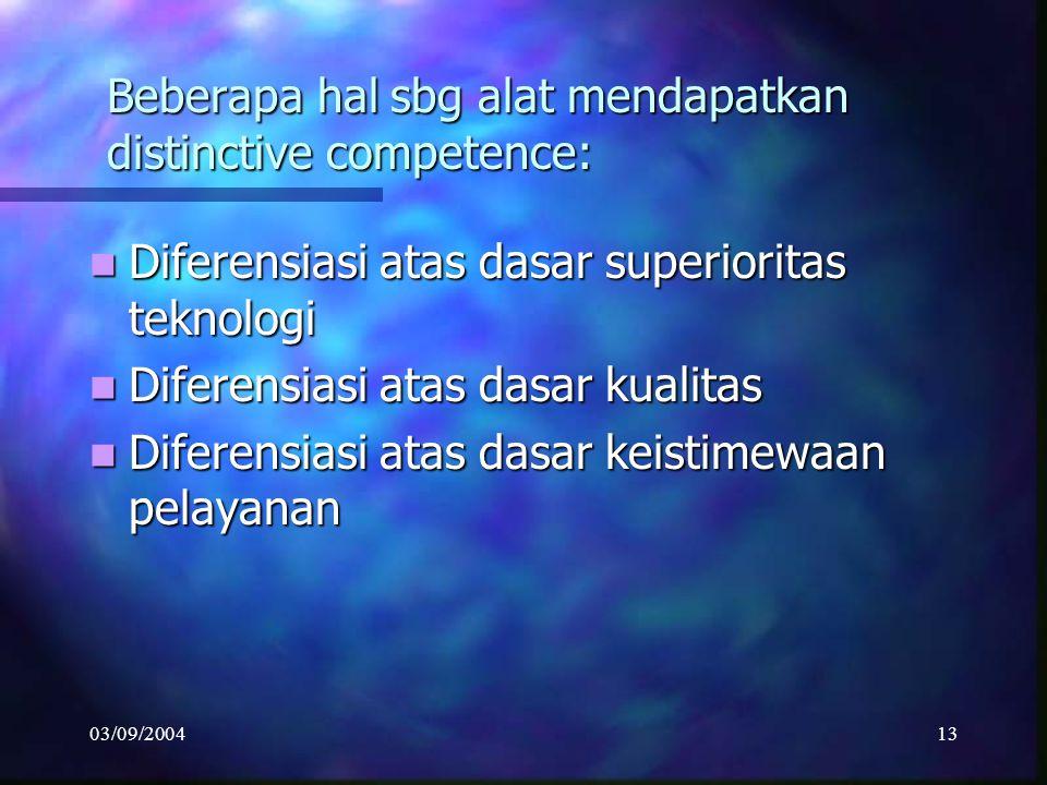 03/09/200412 Daya tarik Strategi Diferensiasi Menjadi benteng pertahanan krn pembeli mjd loyal thd merk/model yg mjd preferensi mereka Menjadi benteng