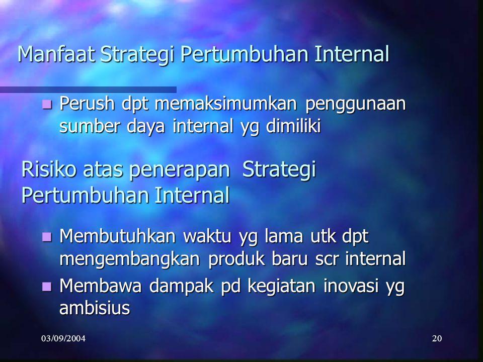 03/09/200419 Strategi ini dpt dikembangkan mll kombinasi antara produk perush dg lingkup pasar yg dilayani. Strategi ini dpt dikembangkan mll kombinas