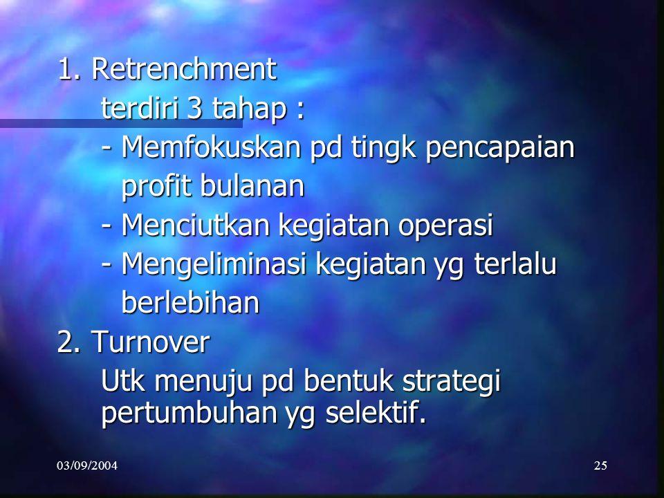 03/09/200424 3. STRATEGI REJUVENATION/BANGKIT Tingkat pertumbuhan perush kadang mengalami stagnasi dan menghadapi biaya tinggi Tingkat pertumbuhan per