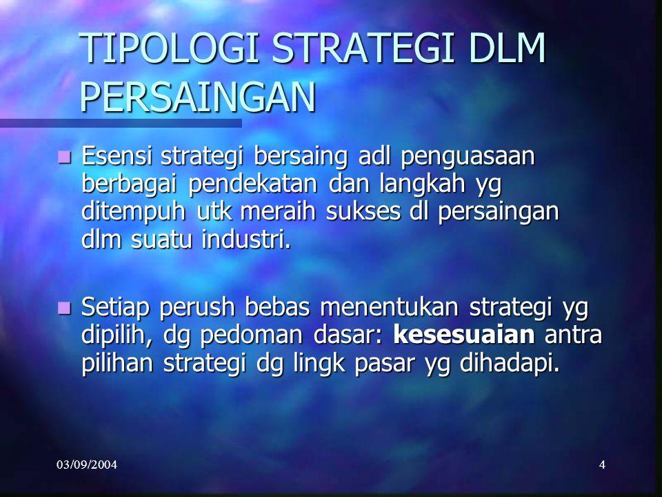 03/09/20044 TIPOLOGI STRATEGI DLM PERSAINGAN Esensi strategi bersaing adl penguasaan berbagai pendekatan dan langkah yg ditempuh utk meraih sukses dl persaingan dlm suatu industri.