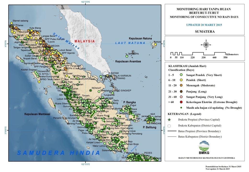 MONITORING HARI TANPA HUJAN BERTURUT-TURUT JAWA UPDATED 20 MARET 2015 Sangat Pendek (1 – 5) Hari Pendek (6 – 10) Hari Menengah (11 – 20) Hari Panjang (21 - 30) Hari Sangat Panjang (31 - 60) Hari Kekeringan Ekstrim (> 60) Hari UPTD Kramatwatu UPTD Sepatan UPTD Tegal Kemiri/Pasar Baru Warung Gunung Jabar Barugbug Batu Jaya Bd.