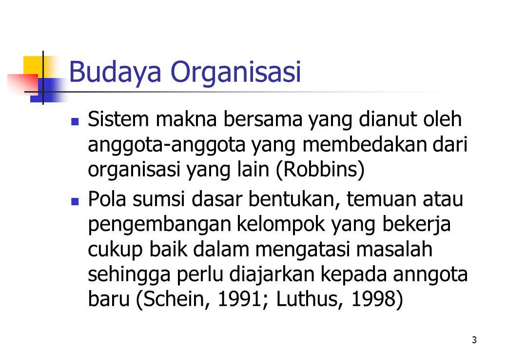 3 Budaya Organisasi Sistem makna bersama yang dianut oleh anggota-anggota yang membedakan dari organisasi yang lain (Robbins) Pola sumsi dasar bentuka