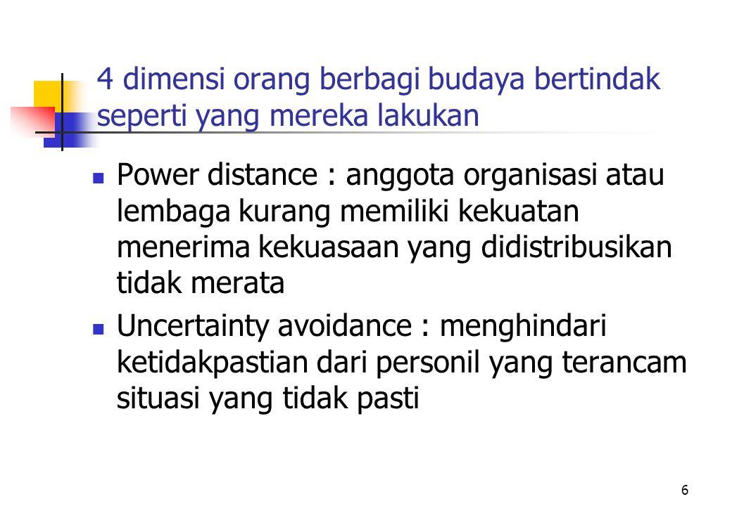 6 4 dimensi orang berbagi budaya bertindak seperti yang mereka lakukan Power distance : anggota organisasi atau lembaga kurang memiliki kekuatan mener