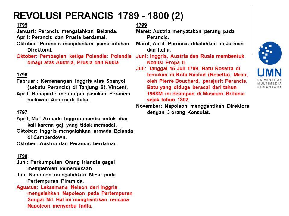 REVOLUSI PERANCIS 1789 - 1800 (2) 1795 Januari: Perancis mengalahkan Belanda. April: Perancis dan Prusia berdamai. Oktober: Perancis menjalankan pemer