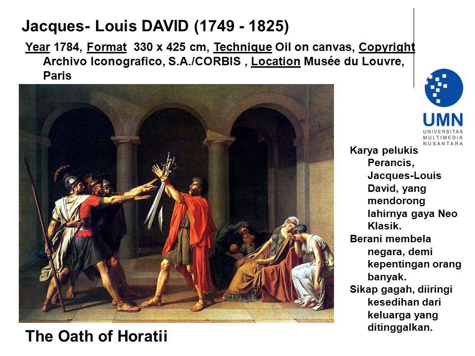 Year 1784, Format 330 x 425 cm, Technique Oil on canvas, Copyright Archivo Iconografico, S.A./CORBIS, Location Musée du Louvre, Paris The Oath of Hora