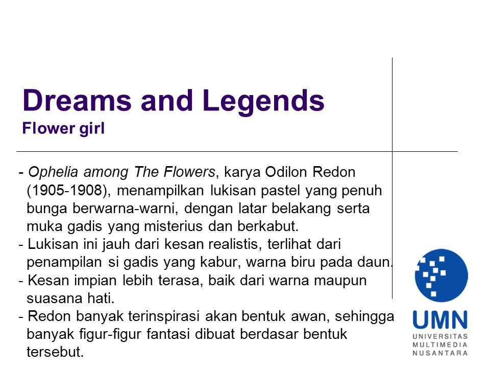Dreams and Legends Flower girl - Ophelia among The Flowers, karya Odilon Redon (1905-1908), menampilkan lukisan pastel yang penuh bunga berwarna-warni