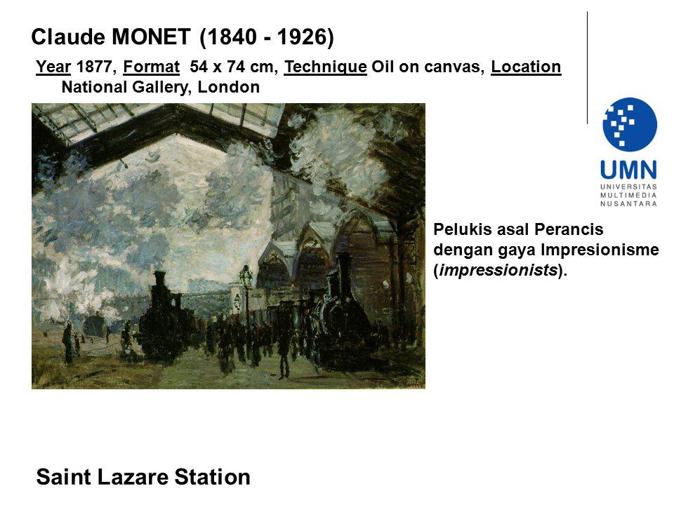 Year 1877, Format 54 x 74 cm, Technique Oil on canvas, Location National Gallery, London Saint Lazare Station Claude MONET (1840 - 1926) Pelukis asal
