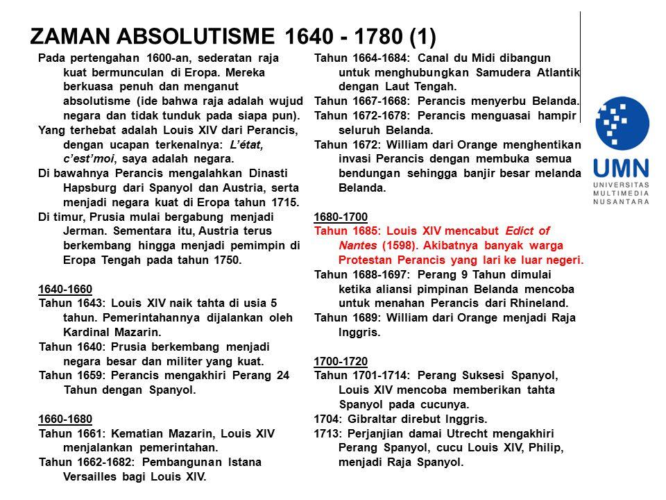 ZAMAN ABSOLUTISME 1640 - 1780 (1) Pada pertengahan 1600-an, sederatan raja kuat bermunculan di Eropa. Mereka berkuasa penuh dan menganut absolutisme (