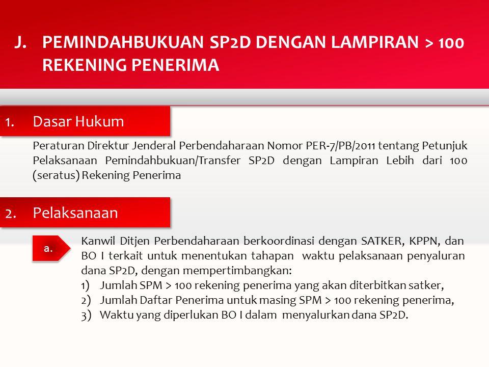 Peraturan Direktur Jenderal Perbendaharaan Nomor PER-7/PB/2011 tentang Petunjuk Pelaksanaan Pemindahbukuan/Transfer SP2D dengan Lampiran Lebih dari 100 (seratus) Rekening Penerima J.PEMINDAHBUKUAN SP2D DENGAN LAMPIRAN > 100 REKENING PENERIMA a.