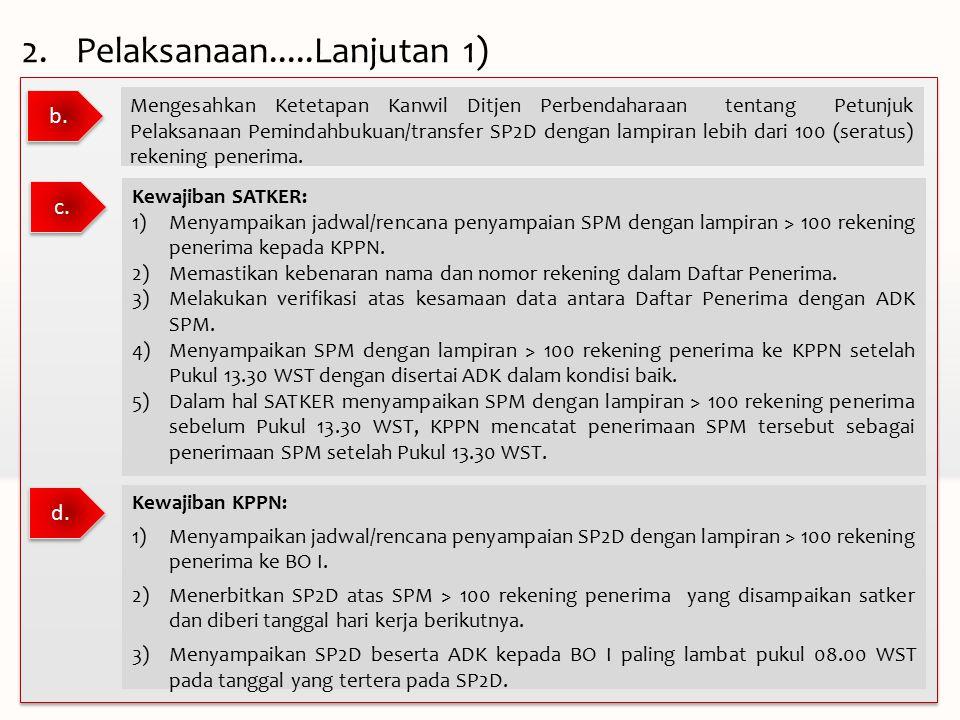 b. Mengesahkan Ketetapan Kanwil Ditjen Perbendaharaan tentang Petunjuk Pelaksanaan Pemindahbukuan/transfer SP2D dengan lampiran lebih dari 100 (seratu