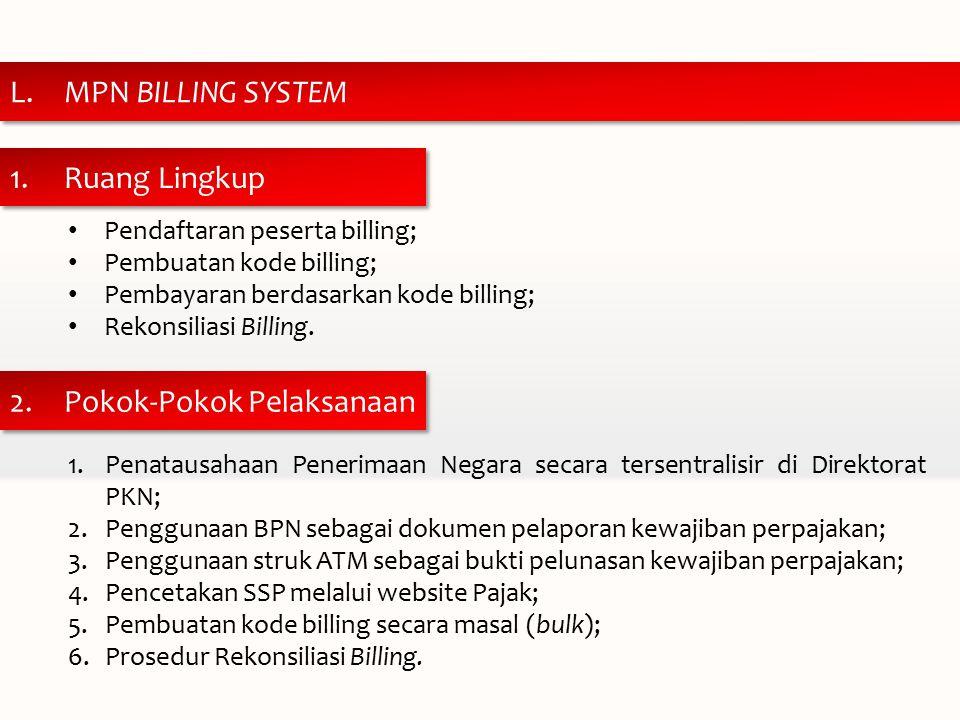 1.Ruang Lingkup 2.Pokok-Pokok Pelaksanaan L.MPN BILLING SYSTEM Pendaftaran peserta billing; Pembuatan kode billing; Pembayaran berdasarkan kode billing; Rekonsiliasi Billing.