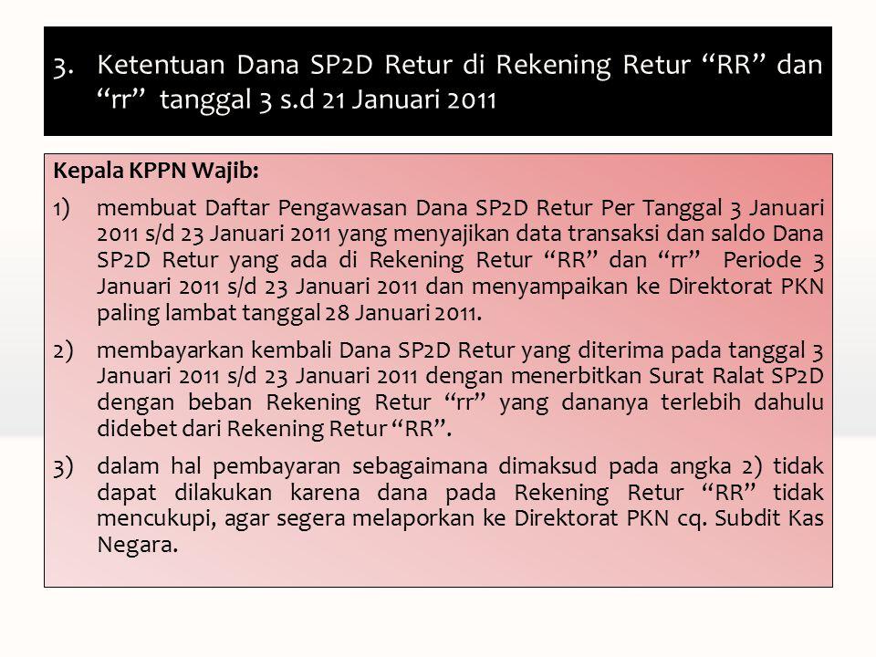 3.Ketentuan Dana SP2D Retur di Rekening Retur RR dan rr tanggal 3 s.d 21 Januari 2011 Kepala KPPN Wajib: 1)membuat Daftar Pengawasan Dana SP2D Retur Per Tanggal 3 Januari 2011 s/d 23 Januari 2011 yang menyajikan data transaksi dan saldo Dana SP2D Retur yang ada di Rekening Retur RR dan rr Periode 3 Januari 2011 s/d 23 Januari 2011 dan menyampaikan ke Direktorat PKN paling lambat tanggal 28 Januari 2011.