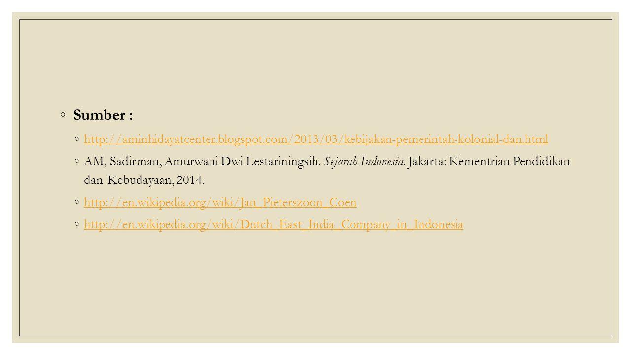 ◦ Sumber : ◦http://aminhidayatcenter.blogspot.com/2013/03/kebijakan-pemerintah-kolonial-dan.htmlhttp://aminhidayatcenter.blogspot.com/2013/03/kebijakan-pemerintah-kolonial-dan.html ◦AM, Sadirman, Amurwani Dwi Lestariningsih.
