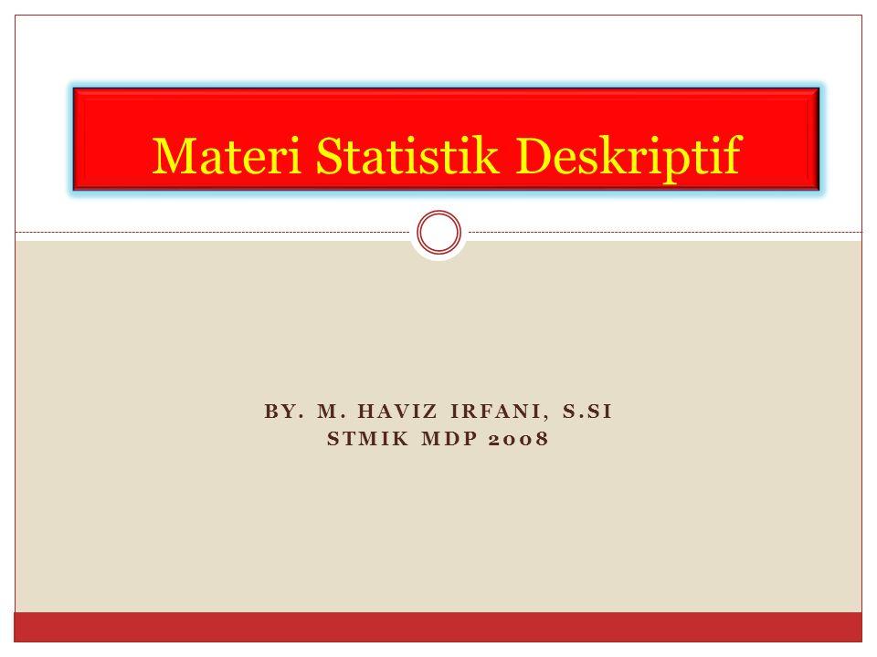 Pengolahan Data Melakukan analisa secara deskriptif (menggambarkan keadaan data ) Statistika Deskriptif By.