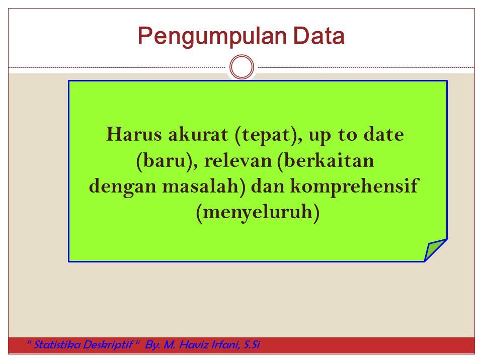 """Pengumpulan Data Harus akurat (tepat), up to date (baru), relevan (berkaitan dengan masalah) dan komprehensif (menyeluruh) """" Statistika Deskriptif """" B"""