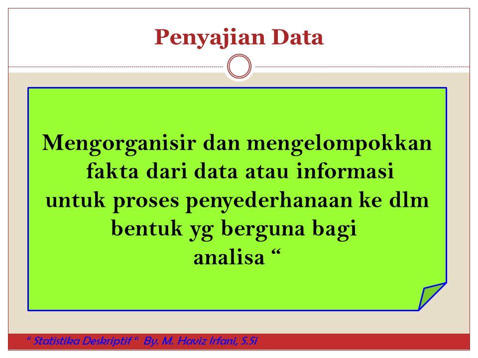 """Penyajian Data Mengorganisir dan mengelompokkan fakta dari data atau informasi untuk proses penyederhanaan ke dlm bentuk yg berguna bagi analisa """" """" S"""