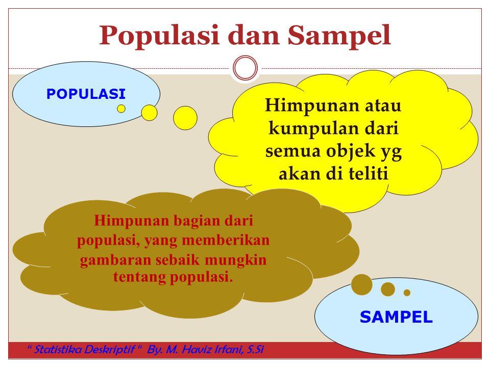 Populasi dan Sampel POPULASI SAMPEL Himpunan atau kumpulan dari semua objek yg akan di teliti Himpunan bagian dari populasi, yang memberikan gambaran