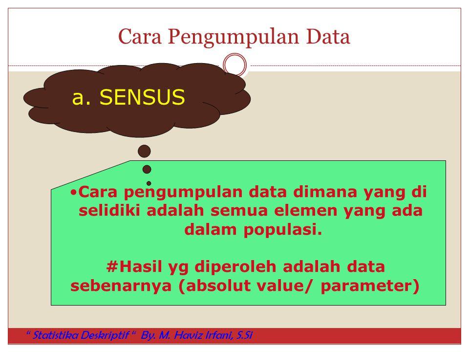 Cara Pengumpulan Data Cara pengumpulan data dimana yang di selidiki adalah semua elemen yang ada dalam populasi. #Hasil yg diperoleh adalah data seben