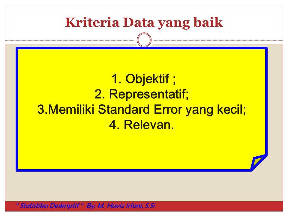 "Kriteria Data yang baik 1. Objektif ; 2. Representatif; 3.Memiliki Standard Error yang kecil; 4. Relevan. "" Statistika Deskriptif "" By. M. Haviz Irfan"