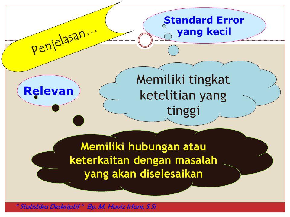Relevan Standard Error yang kecil Memiliki tingkat ketelitian yang tinggi Memiliki hubungan atau keterkaitan dengan masalah yang akan diselesaikan Pen