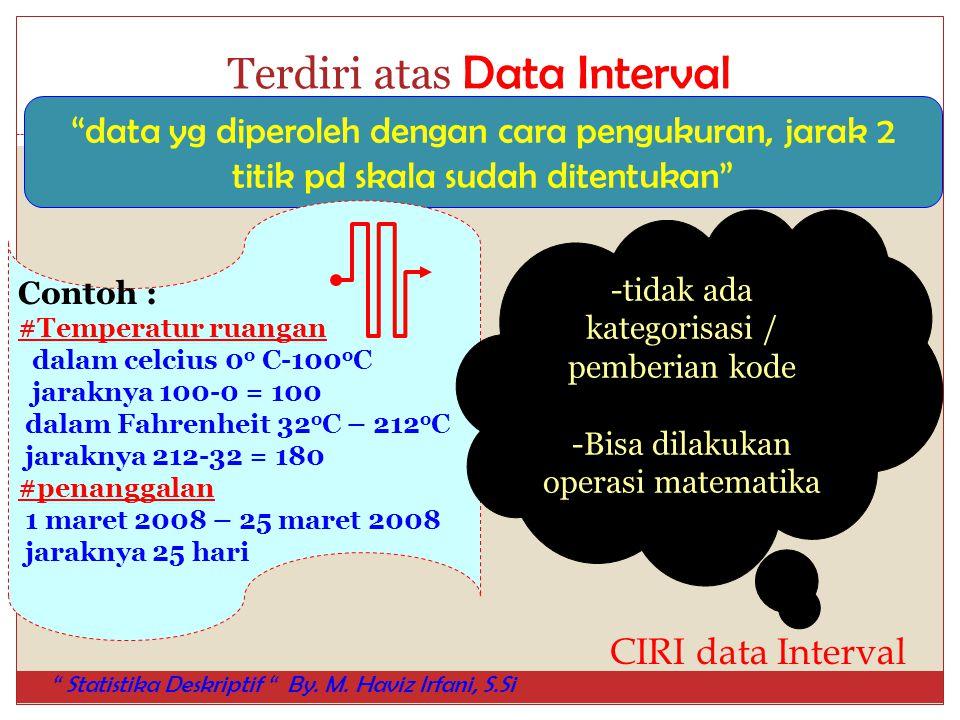 "Terdiri atas Data Interval ""data yg diperoleh dengan cara pengukuran, jarak 2 titik pd skala sudah ditentukan"" Contoh : #Temperatur ruangan dalam celc"