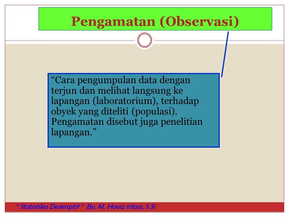 "Pengamatan (Observasi) ""Cara pengumpulan data dengan terjun dan melihat langsung ke lapangan (laboratorium), terhadap obyek yang diteliti (populasi)."