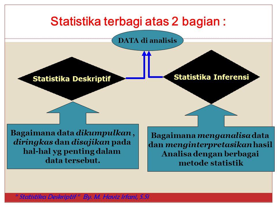 Statistika terbagi atas 2 bagian : Statistika Deskriptif Statistika Inferensi Bagaimana data dikumpulkan, diringkas dan disajikan pada hal-hal yg pent