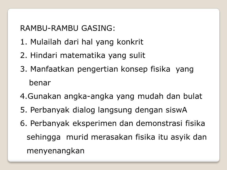 RAMBU-RAMBU GASING: 1.Mulailah dari hal yang konkrit 2.