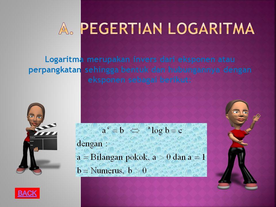 Logaritma merupakan invers dari eksponen atau perpangkatan sehingga bentuk dan hubungannya dengan eksponen sebagai berikut: