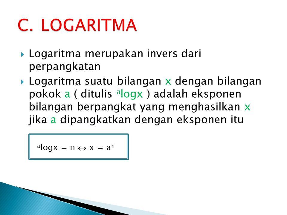  Logaritma merupakan invers dari perpangkatan  Logaritma suatu bilangan x dengan bilangan pokok a ( ditulis a logx ) adalah eksponen bilangan berpangkat yang menghasilkan x jika a dipangkatkan dengan eksponen itu a logx = n  x = a n