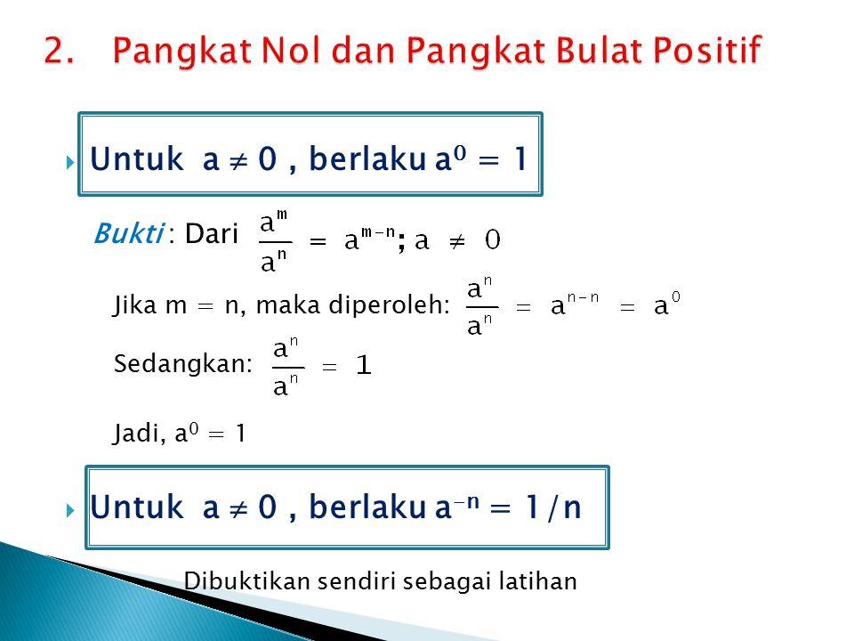  Untuk a  0, berlaku a 0 = 1 Bukti : Dari Jika m = n, maka diperoleh: Sedangkan: Jadi, a 0 = 1  Untuk a  0, berlaku a -n = 1/n Dibuktikan sendiri sebagai latihan