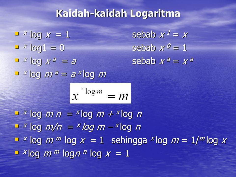 Kaidah-kaidah Logaritma  x log x = 1sebab x 1 = x  x log1 = 0sebab x 0 = 1  x log x a = a sebab x a = x a  x log m a = a x log m  x log m n = x l