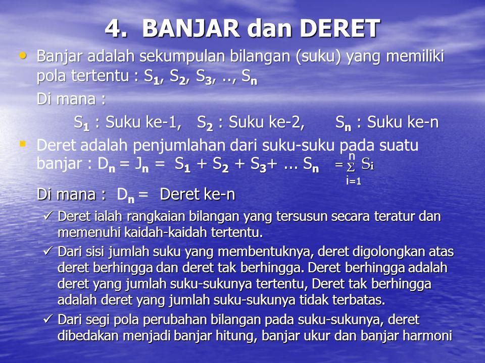 4. BANJAR dan DERET Banjar adalah sekumpulan bilangan (suku) yang memiliki pola tertentu : S 1, S 2, S 3,.., S n Banjar adalah sekumpulan bilangan (su
