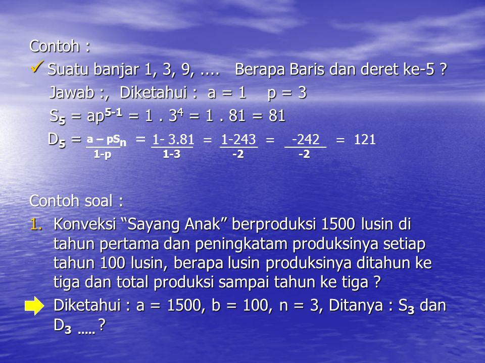 Contoh : Suatu banjar 1, 3, 9,.... Berapa Baris dan deret ke-5 ? Suatu banjar 1, 3, 9,.... Berapa Baris dan deret ke-5 ? Jawab :, Diketahui : a = 1 p