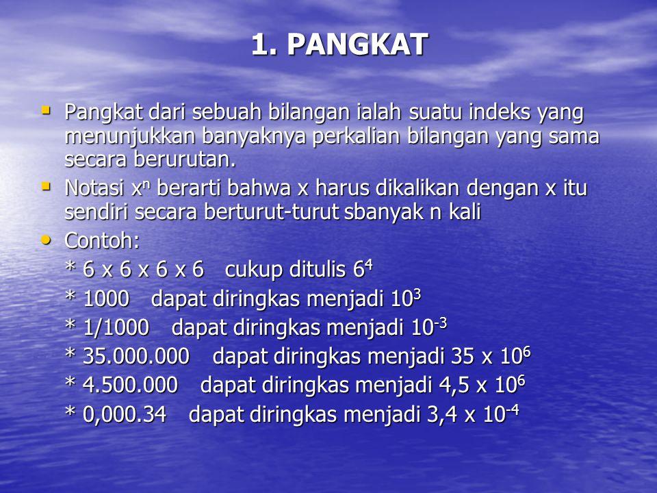 1. PANGKAT  Pangkat dari sebuah bilangan ialah suatu indeks yang menunjukkan banyaknya perkalian bilangan yang sama secara berurutan.  Notasi x n be