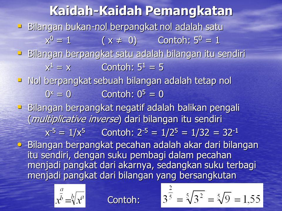 Kaidah-Kaidah Pemangkatan  Bilangan bukan-nol berpangkat nol adalah satu x 0 = 1( x ≠ 0) Contoh: 5 0 = 1  Bilangan berpangkat satu adalah bilangan i