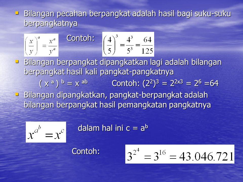  Bilangan pecahan berpangkat adalah hasil bagi suku-suku berpangkatnya Contoh: Contoh:  Bilangan berpangkat dipangkatkan lagi adalah bilangan berpan
